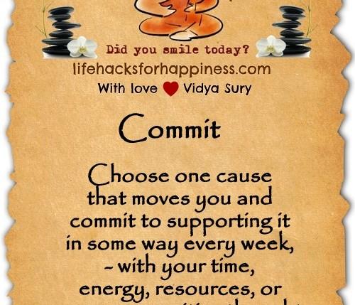 Commit. Vidya Sury Lifehacksforhappiness